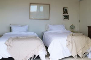 picture of twin beds in room at te horo farmstay.